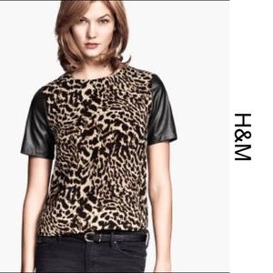 [h&m] Leopard Print Faux Leather Sleeve Top US 8